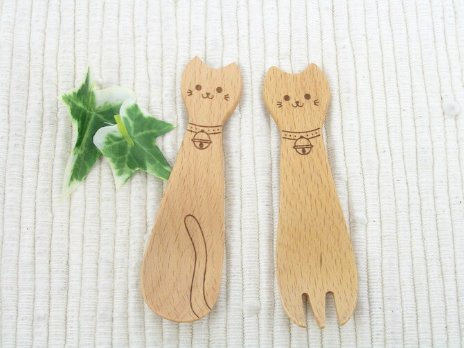 Wooden Cat Fork & Spoon